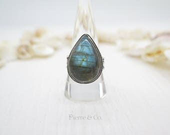 Antique Blue Fire Labradorite Sterling Silver Ring (Size 9.5)