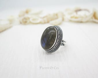 Antique Blue Fire Labradorite Sterling Silver Ring (Size 9)