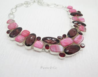 Kunzite Pink Lace Agate Garnet Sterling Silver Necklace