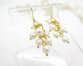 Fresh Water Pearl Grapes Drop Gold plated Earrings