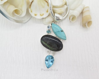 Turquoise Jasper and Blue Topaz Sterling Silver Pendant and Chain
