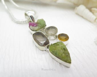 Agate Drusy Smoky Topaz Rutilated Quartz Citrine Sterling Silver Pendant and Chain
