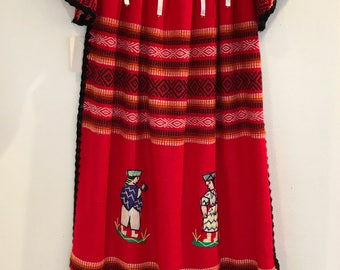 Vintage 1970s Red Ecuador Dress with Embroidered Characters
