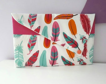Toiletry bag flat feathers woman makeup pouch.