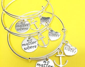 Set of 3 Long distance friendship bracelet for three,friend bracelets set of 3,no matter where bracelet,bangle bracelet,custom gift distance