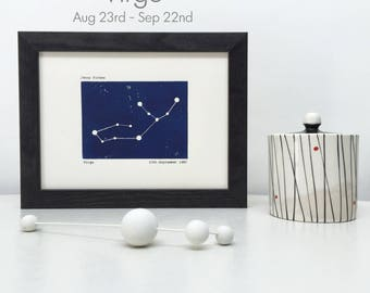 Framed Virgo Constellation Personalised Print. Zodiac, Star Sign, Horoscope New Baby Gift. Unique Birthday Gift. Blue Woodblock Print.