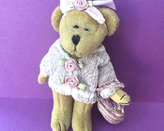 Cutest Little Bearington Bear in Lavender Sweater with Roses