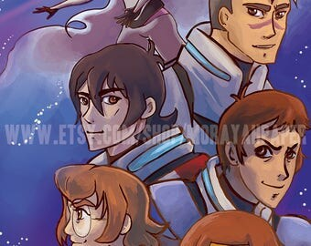 Voltron Legendary Defender Poster, Voltron Legendary Defender Fanart, Takashi Shirogane, Shiro, Keith, Lance, Pidge, Hunk, Princess Allura