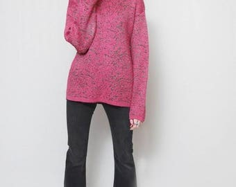 Vintage 1980's Glittery Pink And Gold Wool Blend Jumper