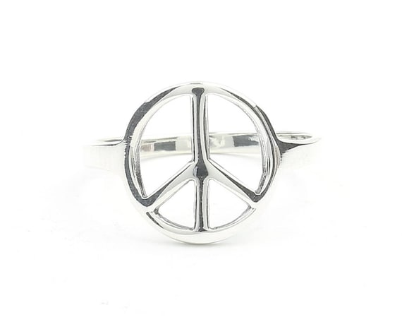 Sterling Silver Peace Sign Ring, Silver Peace Ring, Hippie Ring, Boho Ring, Festival Jewelry