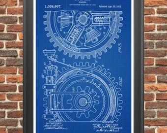 Gears Patent Print, Gearing Poster, Gear Art, Industrial Wall Art, Steampunk Decor, Mechanical Engineer Gift, Garage Decor, Man Cave  P386