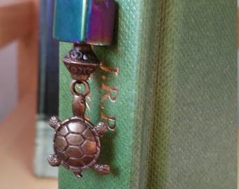 Gold Turtle Bookmark w/ Glass Bead