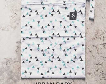 Mint Geometric Wet Bag, Diaper Storage Bag, Travel Bag, Swim Bag, Waterproof Bag, Nappy Bag, Cloth Diaper Bag, TPU, Modern, Diaper Cover