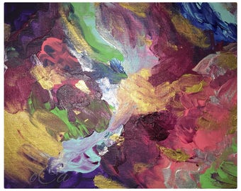Enchanted Rose Abstract Acrylic Painting Original/Abstract Painting/Modern Art/Handmade 8X10