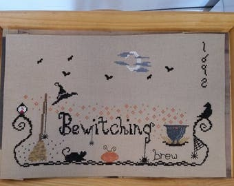 Pattern, Bewitching Brew Halloween,, Witches Broom,  Cross Stitch Pattern,  Spiders, Pumpkins, Black Cats and Witches Brew,