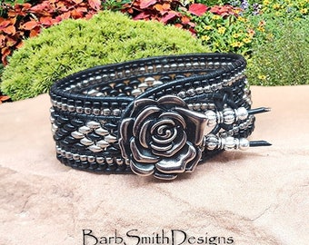 Beaded Black Cuff Bracelet-Leather Bracelet-Black Bracelet-Rose Bracelet-Southwest Bracelet-Custom Sizes-Indian Princess in Black Rose
