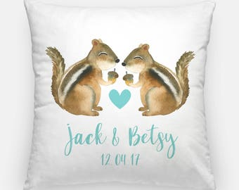 Custom Squirrel Couples Pillow - Engagement Gift, Anniversary Gift, Couples Gift, Squirrel lover, Housewarming, Wedding Gift love, Bridal