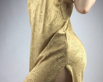 90's Gold Satin Slip Dress