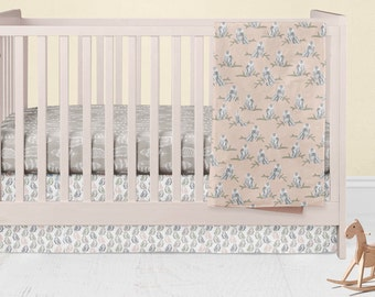 Artic Animals Crib Bedding- Foxes Infants Crib Skirt -  Owls Fitted Crib Sheet - Custom Baby Blanket- Nursery Decor-Baby Shower Gift Set