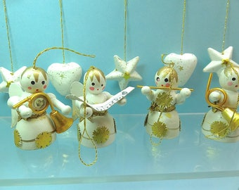Vintage Christmas ornaments, hand painted wood, angel musicians + hearts and stars, white gold miniature Christmas tree ornaments Lot10
