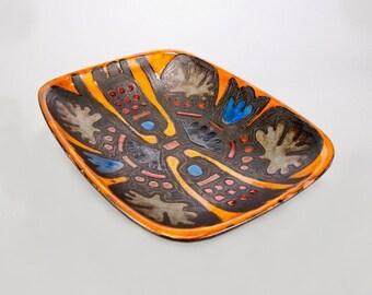 Rogier Vandewegh for Perignem Art Pottery Footed Platter [8171]