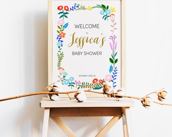 16x20/18x24 Personalized Welcome Sign Floral Botanical Baby Shower Welcome Sign Printable