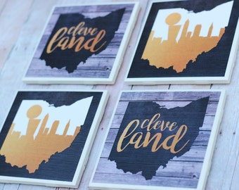 Cleveland / Cleveland Cavaliers Coasters / Cavaliers Coasters / Cleveland Skyline / Lebron James / Cleveland Cavaliers Champions / Coasters