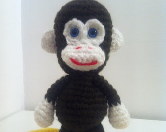Crochet Monkey, Amigurumi Monkey, Brown Monkey, Handmade Soft Toy
