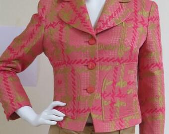 Vintage Bazar de Christian Lacroix Vibrant Wool Mix Short Jacket - Size 40 France, 12 UK, 10 USA