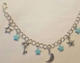 Moon mickey key charm bracelet Blue Star