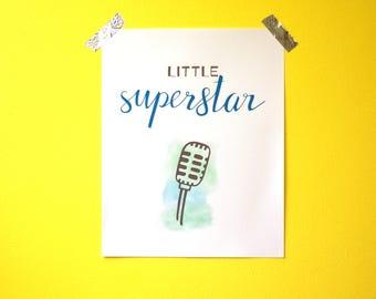 "Nursery Wall Art - Little Superstar - 8""x10"" - PDF instant download"