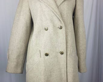 Vintage Womens size 6 New York Girl NYG Pea Coat Tan Beige Double Breasted Wool Blend