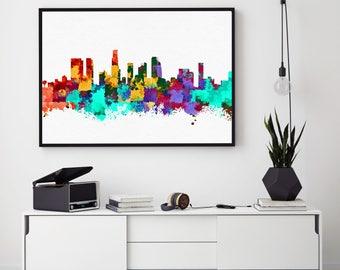 Los Angeles Skyline Print, Los Angeles Poster, Los Angeles Wall Art Decor, Watercolour Skyline Art, Los Angeles Home Decor (N109)