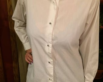 90's white button down shirt with black embroidery