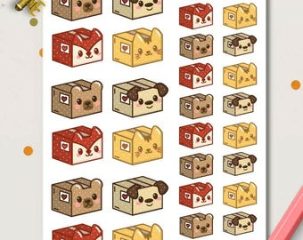 Cute Animals Mail Delivery Planner Stickers | Package boxes planner stickers