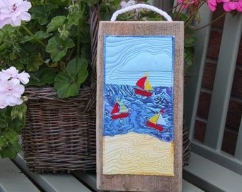 Sailing Boats Yachts Seaside Living Textile Art House Warming Unique Handmade