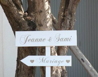Panneaux en bois personnalisables pour mariage.Pancartes personnalisables .Flèches mariage.Decoration mariage Custom wood wedding sign