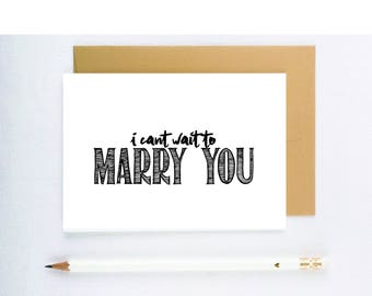 """Wedding Card """"I cant wait to marry you"""" card for groom on wedding day, card wedding, card to groom, card from bride to groom, card to bride"""