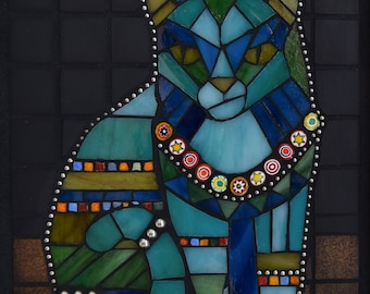Mosaic Cat Art ~ mixed media mosaic ~ mosaic wall art ~Stained Glass Mosaic ~ Tribal Cat ~ Glass Cat Mosaic