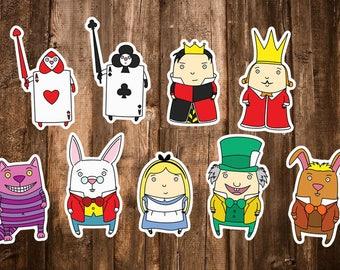 9 Alice in Wonderland Stickers - Alice in Wonderland Character Scrapbook/Journal/Notebook/Laptop/Planner Sticker Set Art Decor/Kids Gifts
