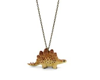Tiny Stegosaurus Charm Necklace, Hand Sculpted/Painted Figurine, Ceramic Animal Pendant & Chain ()