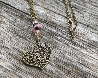 Heart Charm Necklace and Earrings, Romantic Jewelry