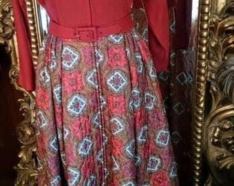 Vintage 1960's Styled By Dorian Silk Quilted Hostess Dress Robe