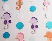 SEAHORSE GARLAND-Any Length--Mermaid Party--Birthday, Baby Shower--Nautical Theme and more