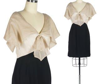 50s Organza Dress Sailor Collar Dress Bombshell Wiggle Dress Cream Black Dress