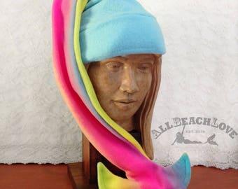 Mermaid Hat, Gifts for Her, Mermaid Tail Hat, Fleece, Mermaid, Winter Hat, Gifts for Her, Mermaid's Helper, Beanie, Rainbow, Pride, LGBT