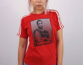 ADIDAS Vintage 90's Adidas Tracy McGrady Huston Rockets NBA T-shirt in Red | NBA apparel | Women's T-shirt Small  or Boys age 12