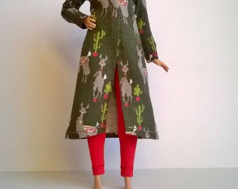 Curvy fashion doll coat in green with lamas and cacti