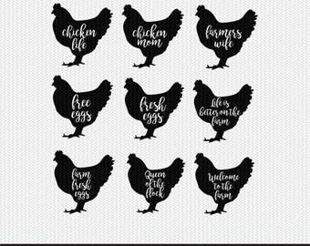 hen chicken farm set svg dxf file instant download stencil silhouette cameo cricut clip art animals commercial use