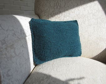 Handmade Pearl Knitted Tiel / Turquoise Throw / Decorative Pillow